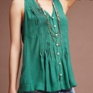 Anthropologie Maeve Green Pleated Blouse